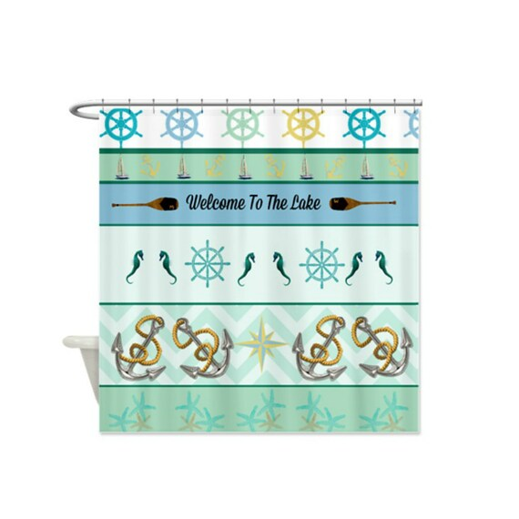 Items similar to shower curtain nautical welcome to the for Beach house decor items