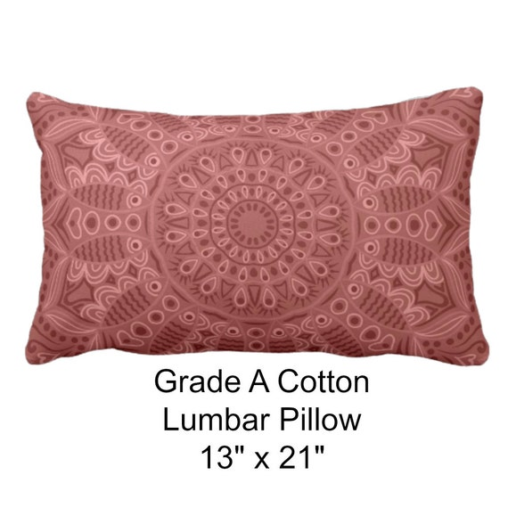 Dark Coral Throw Pillows : Boho Dark Coral Pillow Grade A Cotton Throw by FolkandFunky