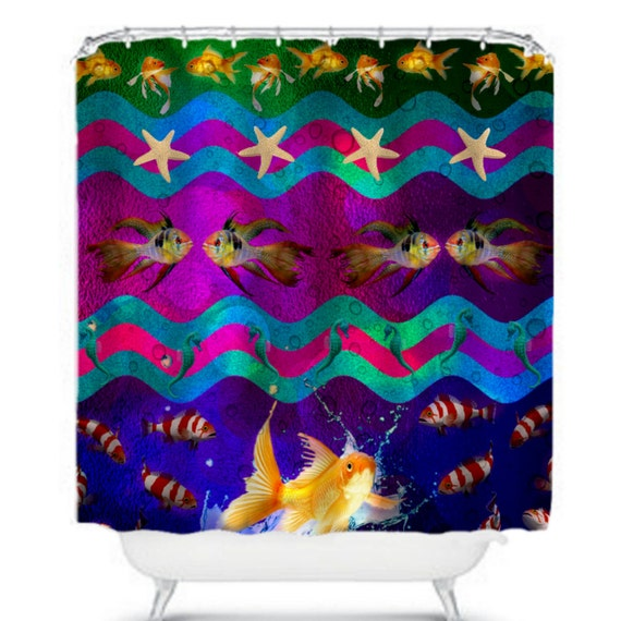 Items similar to fish aquarium shower curtain shimmery for Tropical fish shower curtain