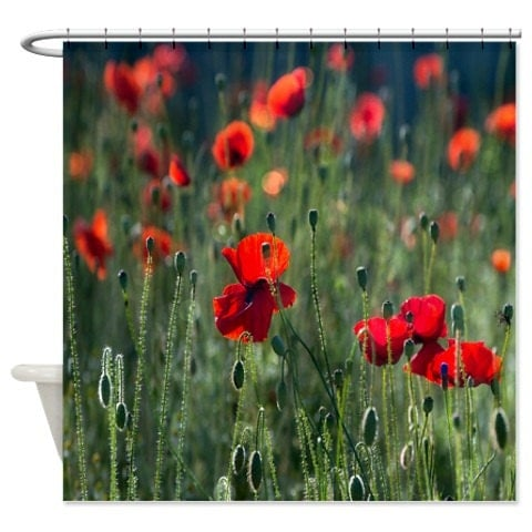 Shower Curtain Poppy Field Red Poppies by FolkandFunky on Etsy