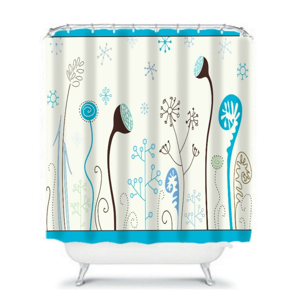 Shower Curtain Modern Floral Teal Brown by FolkandFunky on Etsy