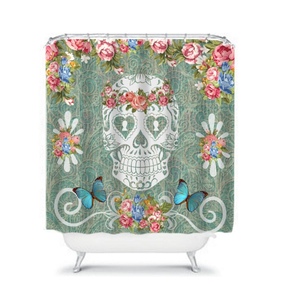 sugar skull shower curtain teal victorian pink by folkandfunky. Black Bedroom Furniture Sets. Home Design Ideas