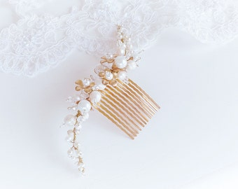 Bridal hair comb, bridal headpiece, style Edera, hand- made in Italy