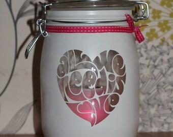 """Personalised Glass Jar Love-Lite Jar """"All We Need is Love"""""""