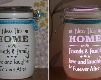 Personalised Glass Jar Love-Lite Jar - Bless This Home