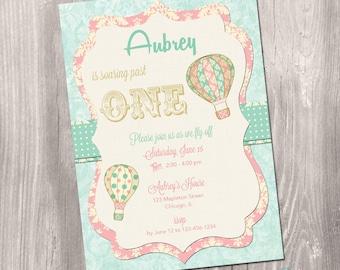 Hot air balloon invitation - hot air balloon first birthday invitation - vintage hot air balloon invitation - printable invitation