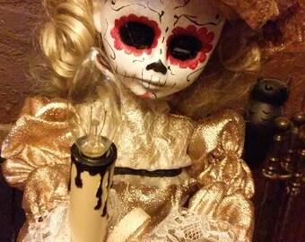 "Creepy Dia de los Muertos OOAK Doll - 24"" Vintage Motionette with light up candle & motion"