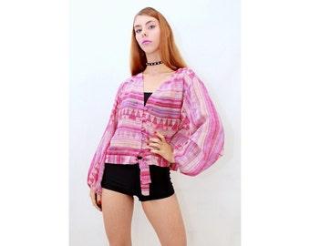 Vintage - 80's - Retro - GEOMETRIC - Semi Sheer - AZTEC - Pink - Purple - Tie Front - Blouse - Top - AUS 12 - M - Medium