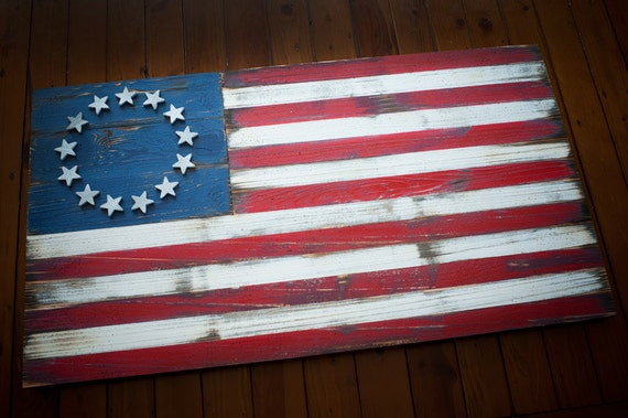 Betsy ross vintage flag us betsy ross weathered wood flag betsy ross