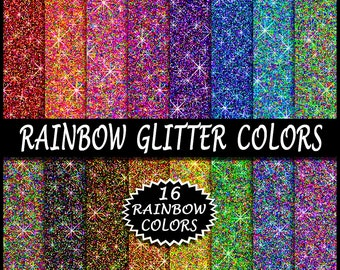 SALE 16 Rainbow Glitter Paper Colors - Glitter Digital Paper Set - Sparkling Digi Papers - By ArtWildflowersDigi - Commercial Use