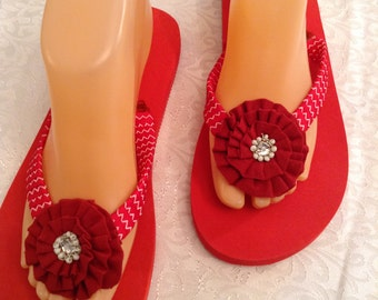Women's Size Medium  Red Ribbon  Flip Flop Size 7-8