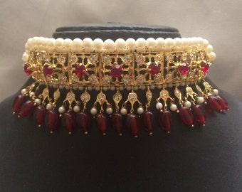 Maroon Galabandh with matching earrings, hyderabadi gulubandh, hyderabadi bridal jewelry, indian wedding