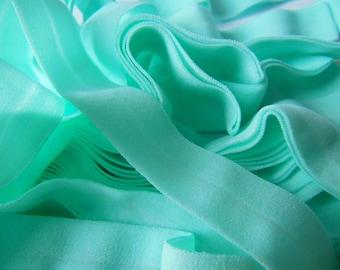 5Yards 3/4'' 2cm Aqua Blue Fold Over Elastic Extremely Soft