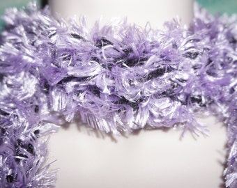 Crocheted Purrple and Black Fluffy scarf.. Scarves