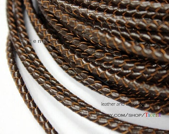 4mm Round Genuine Brown Bolo Leather,Braided Bolo Leather Strap, BP4M-46