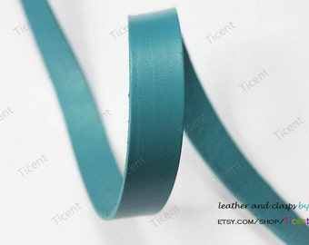 15mm Teal Leather Cord, 15mmx2mm Genuine Flat Leather Strip GF15M-105