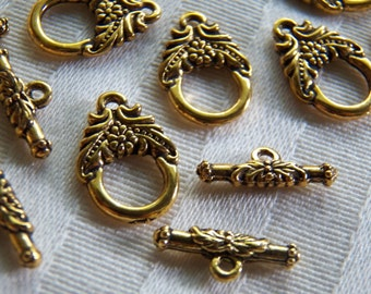 Sale! 25% off 30 Sets Tiny Antique Golden Toggles. Lovely Ornate Flowers Design. Double Sided.  Hoop12mm, TBar 15mm ~USPS Ship Rates/Oregon