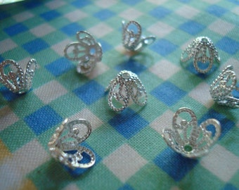 32 Silver Plate Stardust Bell Flower Caps. BRASS. Sparkling Filigree Beauty!  Adustable, Pliable 8x7mm ~USPS Ship Rates from Oregon
