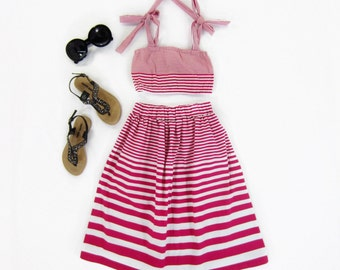 Toddler Girl Bohemian Hot Pink Striped Maxi Skirt and Crop Top Set - 12/18m, 2T, 3T, 4T Ready to Ship