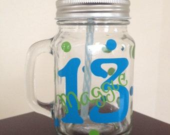 Birthday Mason Jar - 13 Birthday Gift - Personalized Mason Jar - Custom Mason Jar - Monogrammed Mason Jar