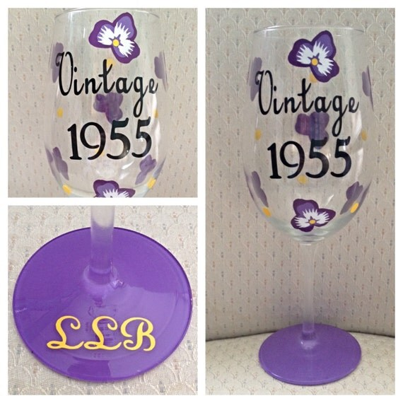 Birthday Wine Vintage Birthday Flower Wine Glass Vintage