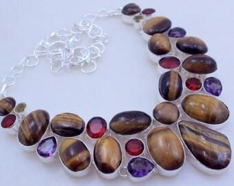 free shipping f-102 Tiger's Eye-Garnet -Amethyst .925 Silver handmade Necklace jewelery