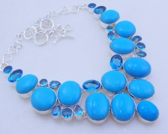 free shipping f-102 Turquoise -Blue topaz .925 Silver handmade Necklace jewelery