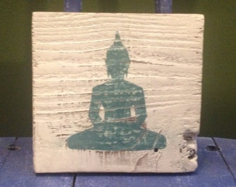 Small Teal Buddha Wood Sign
