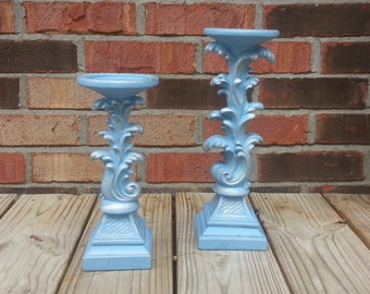 Blue Pillar Candle Holders
