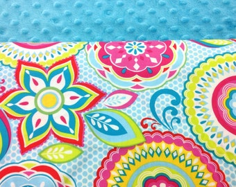 Back to School SALE!!! Nap Mat Cover, Girls Nap Mat, KinderMat, Daydreamer, Pre-K, Daycare, Kindergarten, Floral Spiral with Turquoise Minky