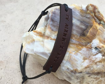 FREE SHIPPING-Mens Leather Bracelet,Mens Cord Bracelet,Men Engraved Bracelet,Men Personalized Braceelet,Engraved Leather Bracelet,Bracelets