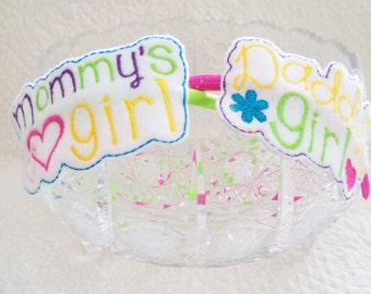 Mommy's Girl or Daddy's Girl  slider or Headband Your choice