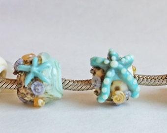 European Charm Bead, Large Hole Bead  -  At the Beach Singles by Sabrina Koebel Handmade Lampwork Beads