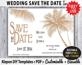 Save the date wedding card garden grass diy reusable and for Diy save the date magnets template