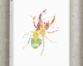 Stag Beetle Art - Watercolor Painting - Giclee Print - rainbow Home decor - Insect Art - Animal Watercolor illustration - Aquarelle