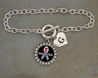 Custom Initial Diabetes Awareness Bracelet