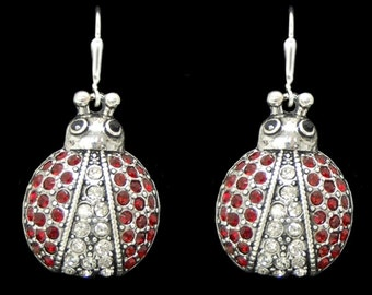 Pave Ladybug Earrings