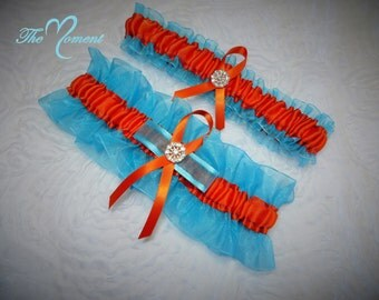 Turquoise and Orange Garter Set, Wedding Garter, Bridal Garter, Keepsake Garter, Prom Garter, Turquoise Garter, Orange Garter