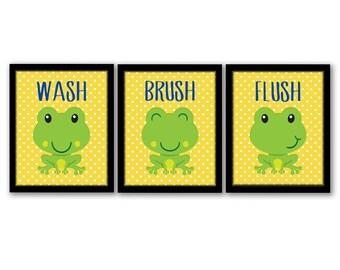 Wash Brush Flush, Bathroom Rules, Kids Bathroom Art, Kids Bathroom Decor,  Childrenu0027s