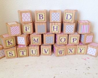 Girly Girl Set of 1.5 inch Alphabet Blocks
