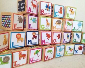 Alphabet Blocks! Adorable Set of Handmade 1.5 Alphabet Blocks with Rounded Corners
