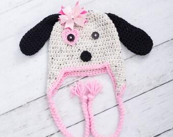 crochet puppy hat baby girl puppy hat newborn puppy hat newborn photo prop toddler puppy hat little girl puppy hat newborn puppy hat