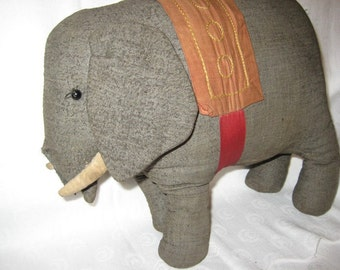 Rare Antique Hand Made Fabric Elephant ( needs a trunk )