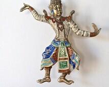 Siam Enamel Sterling Silver Vermeil Dancer Brooch
