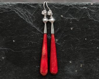 Red Bamboo Coral and Sterling Silver Drop Earrings, Long Earrings, Unusual Earrings, Elegant Earrings