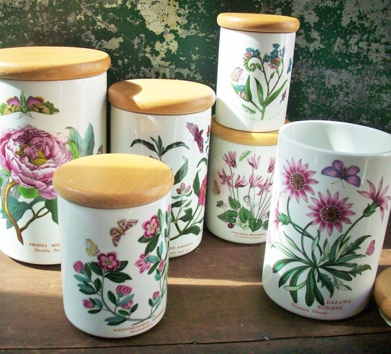 Vintage Portmeirion Botanic Garden China Canister Set 6