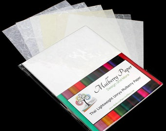 """Mulberry Kozo Paper in 6 White Weights and Textures for Arts, Crafts and Scrapbooking (24 Sheets of 8.5"""" x 11"""" Paper) - Light Weight"""