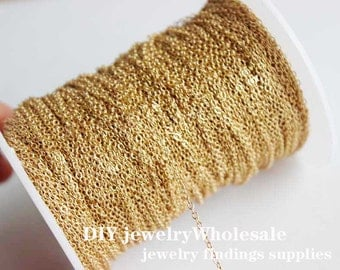 32ft 1.5x1mm KC Gold Brass Soldered Chain Flat Cable Chain Gold Plated chain 1.5mm tiny flat solder cable chain