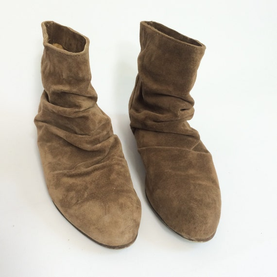 70s Suede SLOUCH Boots BOHO Tan Brown Ankle by TigerStyleVintage
