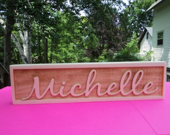 Personalized engraved wooden name plate for office , school or home 2.5in x 10in (Nc_michelle_1).